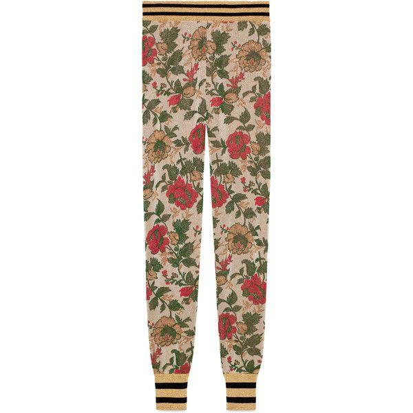Gucci Lurex Rose Jacquard Legging ($1,065) ❤ liked on Polyvore featuring pants, leggings, pants & shorts, ready-to-wear, rose, women, gucci leggings, gucci pants, jacquard leggings and metallic pants