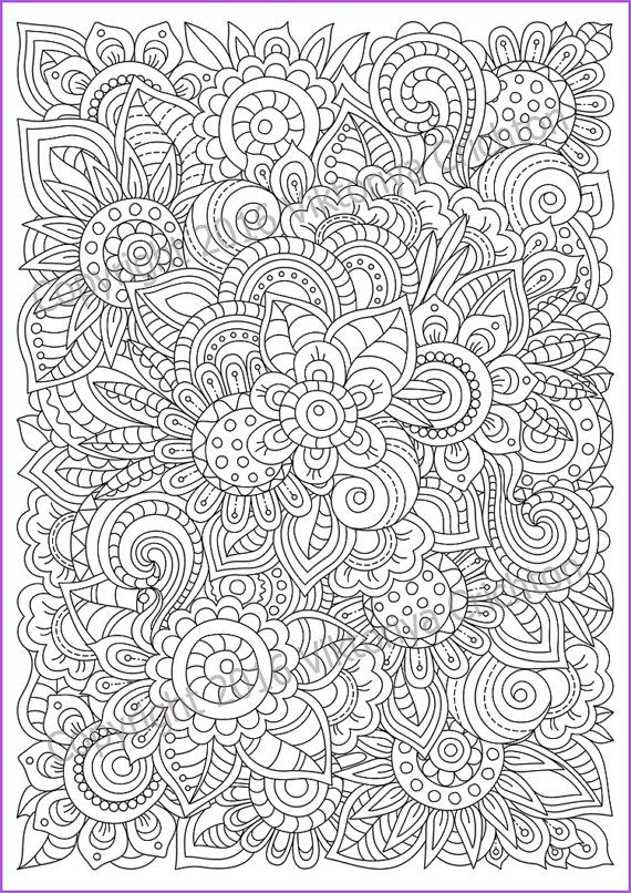 Zentangle Flowers Coloring Page For Adults Doodle Etsy Mandala Coloring Pages Pattern Coloring Pages Coloring Pages
