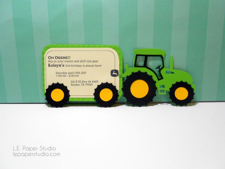 John Deere Tractor Trailer invitation. Great for baby showers, baby announcement or birthday parties