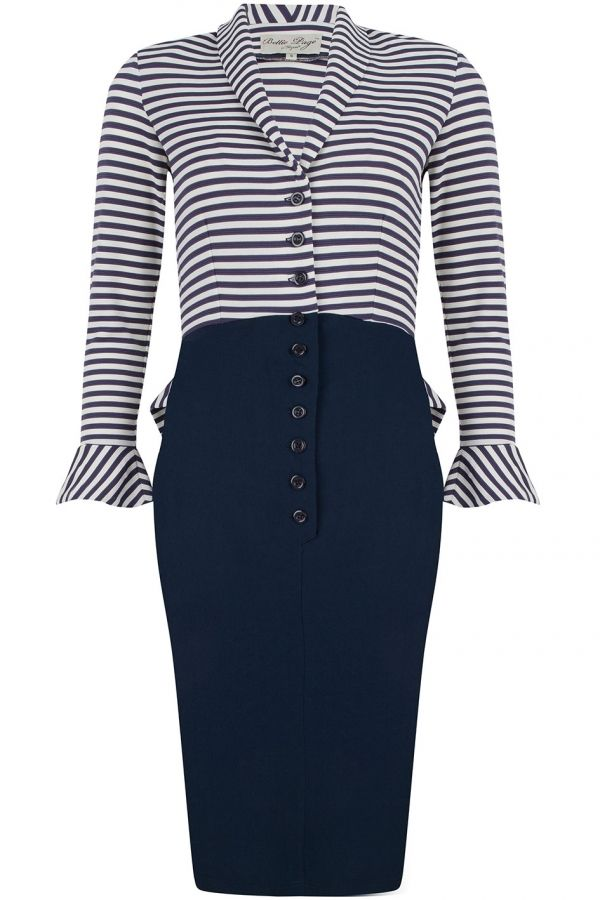 Bettie Page Navy & White Striped Long Sleeve Sabrina Wiggle Dress