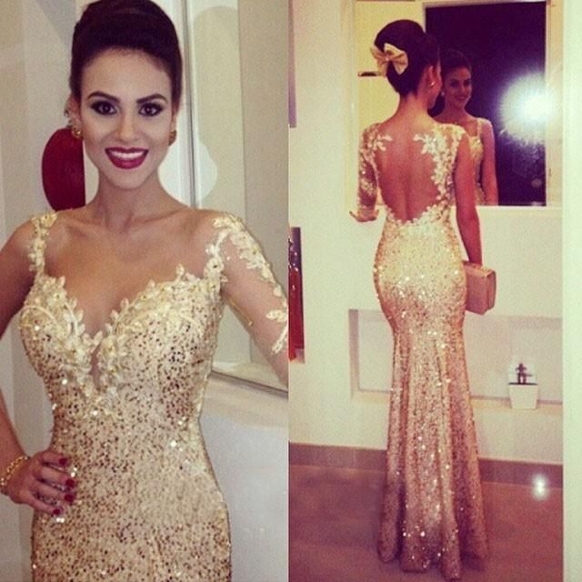 Prepare the backless prom dress for the upcoming prom? Then you need to see  2015 Gold Prom Dresses with Long Sleeves Sweetheart Bodycon Cocktail Dresses Trumpet Style Formal Dresses Evening Dresses with Appliques in andybridal and other white prom dresses uk and prom dresses usa on DHgate.com.