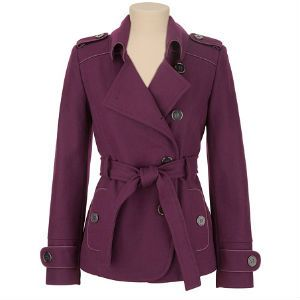 Button Front Belted Pea Coat. Would also be cute in forest green
