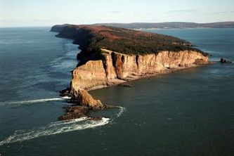 The world famous Cape Split hiking trail from an aerial perspective.