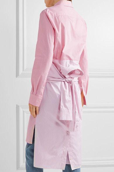 Maison Margiela - Tie-front Striped Cotton-poplin Shirt Dress - Baby pink - IT