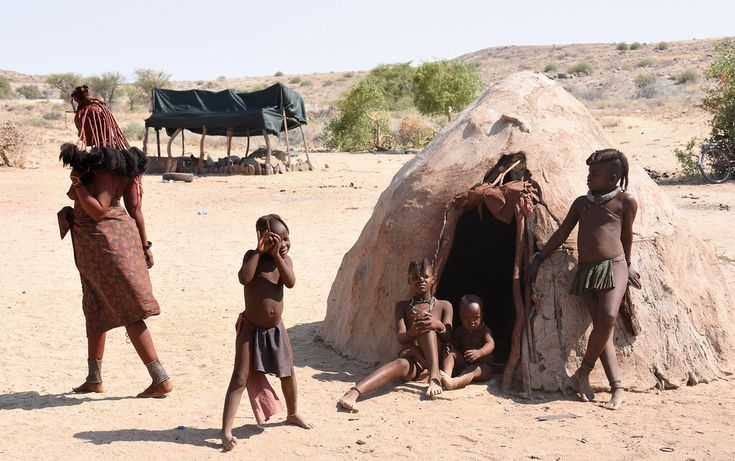 Himba Woman Children Traditional Rural Village Stock Photo
