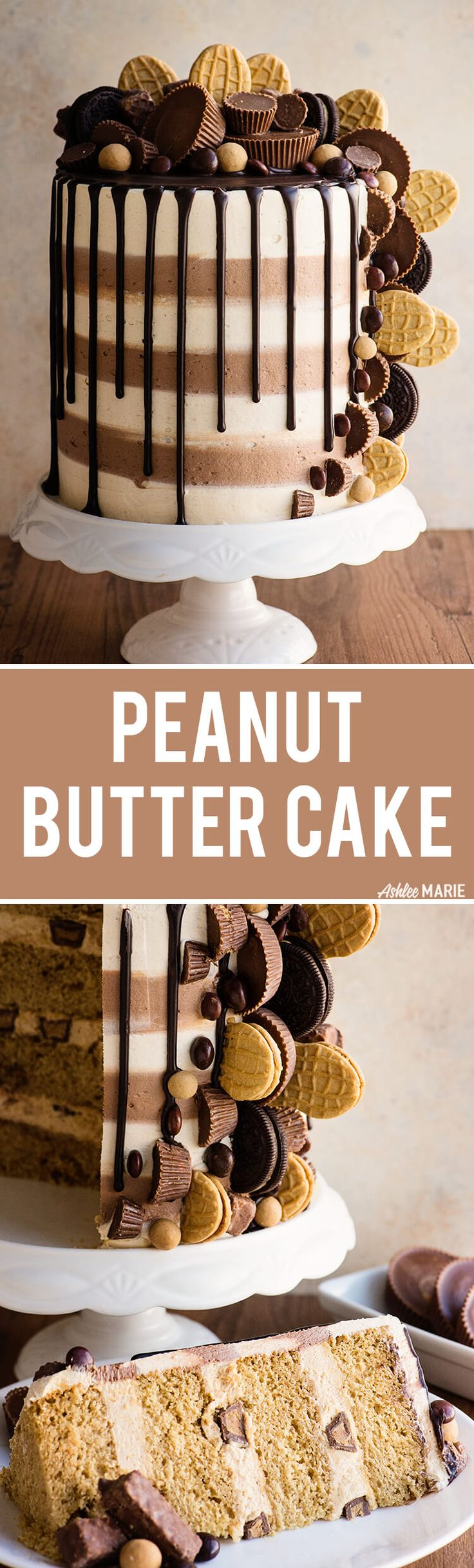 Triple Peanut butter cake recipe video via @ashleemariecake