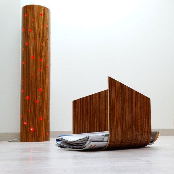 Bent plywood modern magazine holder newspaper by Atelier1053