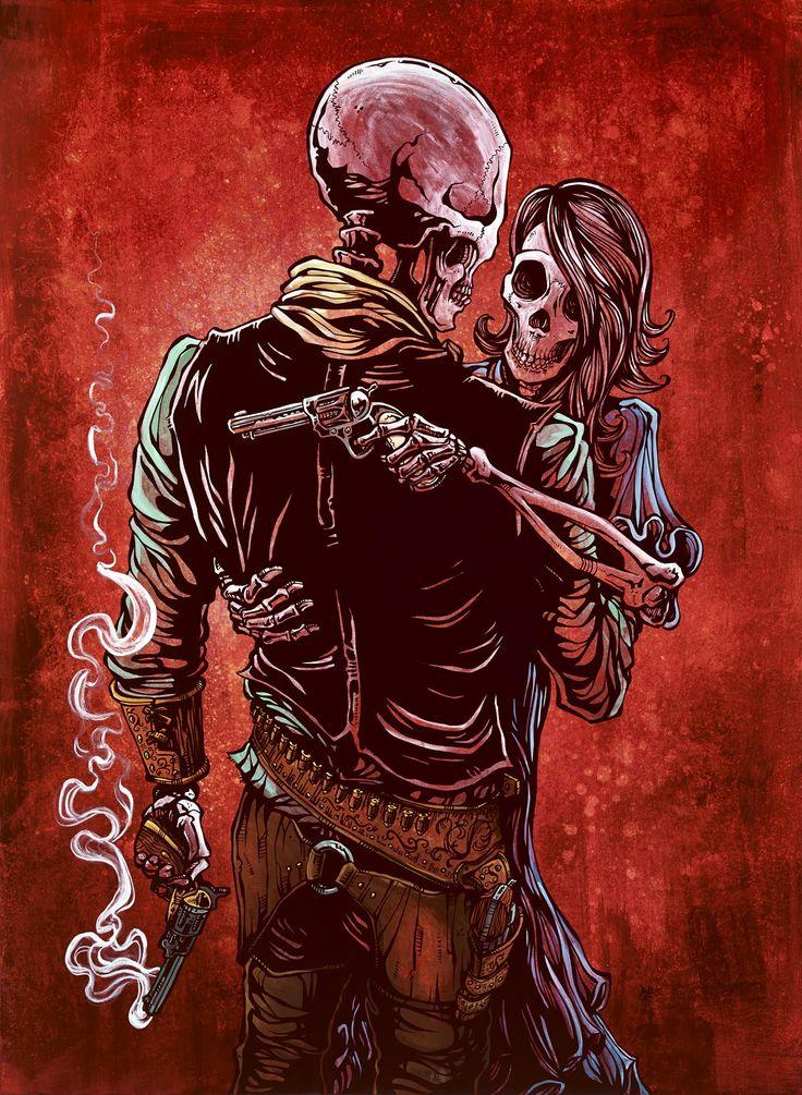 Day of the Dead Artist David Lozeau, Love, Trust, and a Revolver, David Lozeau Dia de los Muertos Art - 1