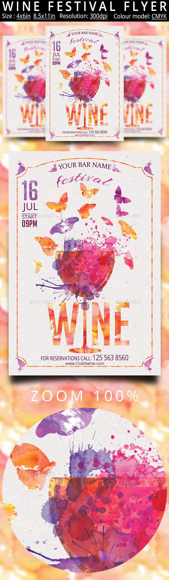 Wine Festival PSD Flyer  Template • Only available here ➝ http://graphicriver.net/item/wine-festival-flyer/16667392?ref=pxcr