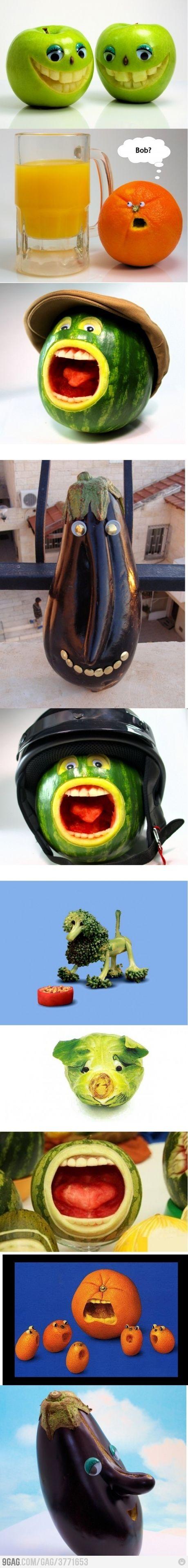 Funny Fruits and Vegetables! Así los niños tampoco se las comen! Les dará pena! XD