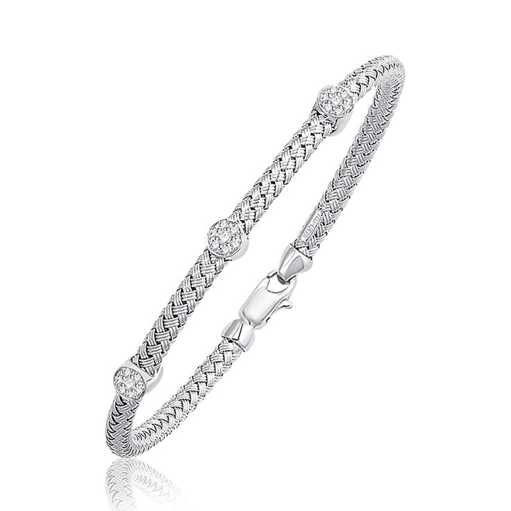 Basket Weave Bangle with Diamond Accents in 14K White Gold (4.0mm)