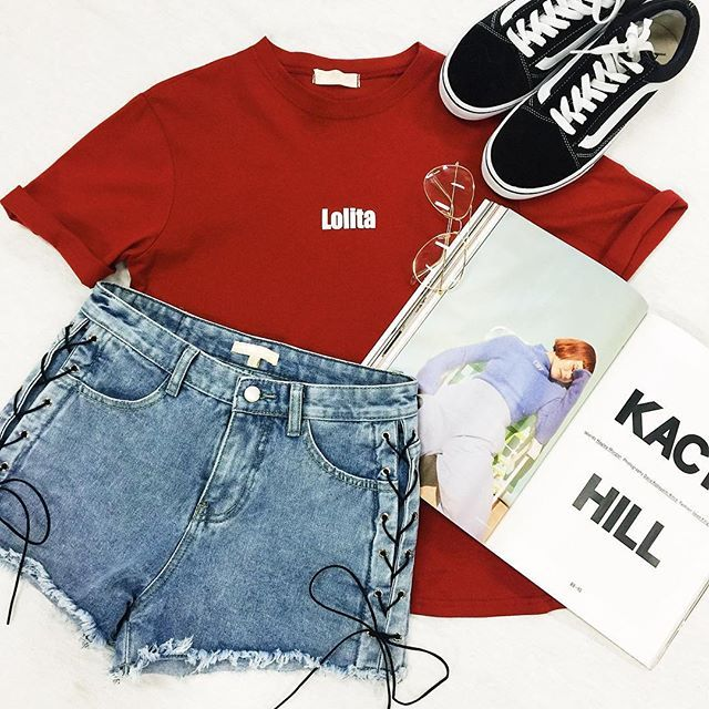 Lolita Tee ☆ Follow us @popcherryau for more Popcherry fashion ☆ flatlay // red shirt // vans //magazine //denim shorts