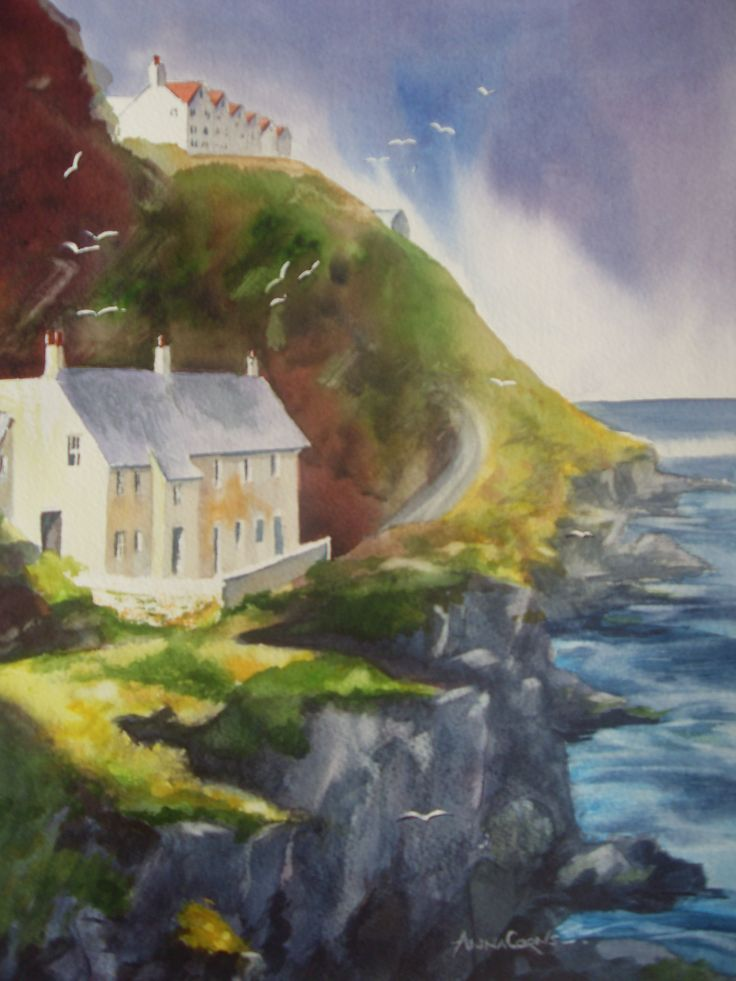 Who says that #watercolour has to be wishy-washy!  This picture of Port Gavern is now hanging in the lovely pub there where we go after choir practice on a tuesday evening.  The tiny bay is just around the corner from Port Isaac where the Doc Martin TV series is filmed and has a timeless quality about it.   I was part of an art group run by Wendy Clouse and we sat for hours trying to capture the feeling and enjoying the sunshine. #landscape #seascape #drawing #painting #art