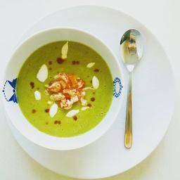 Avocado soup with crayfish tails