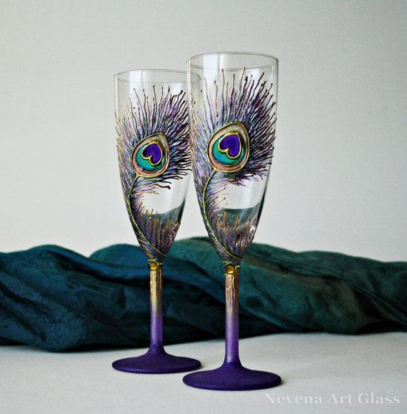 Purple Peacock Wedding Glasses Champagne Flutes. by NevenaArtGlass