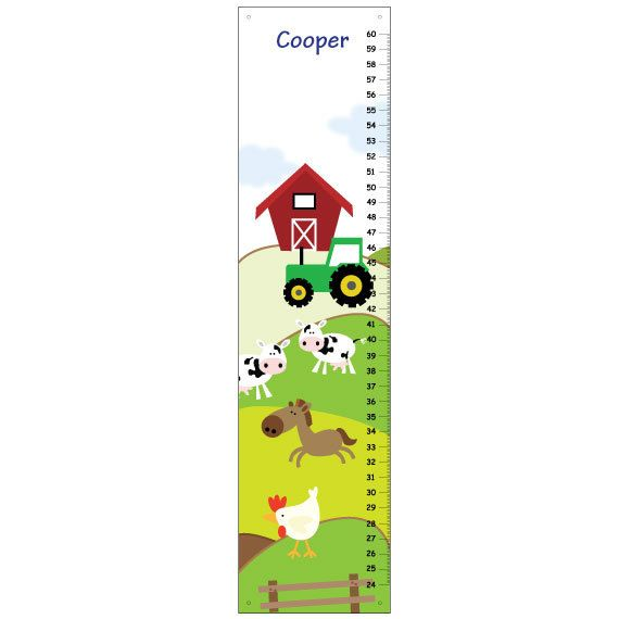 ON SALE Canvas GROWTH Chart Farm Animals Cow por KidODesignStudio