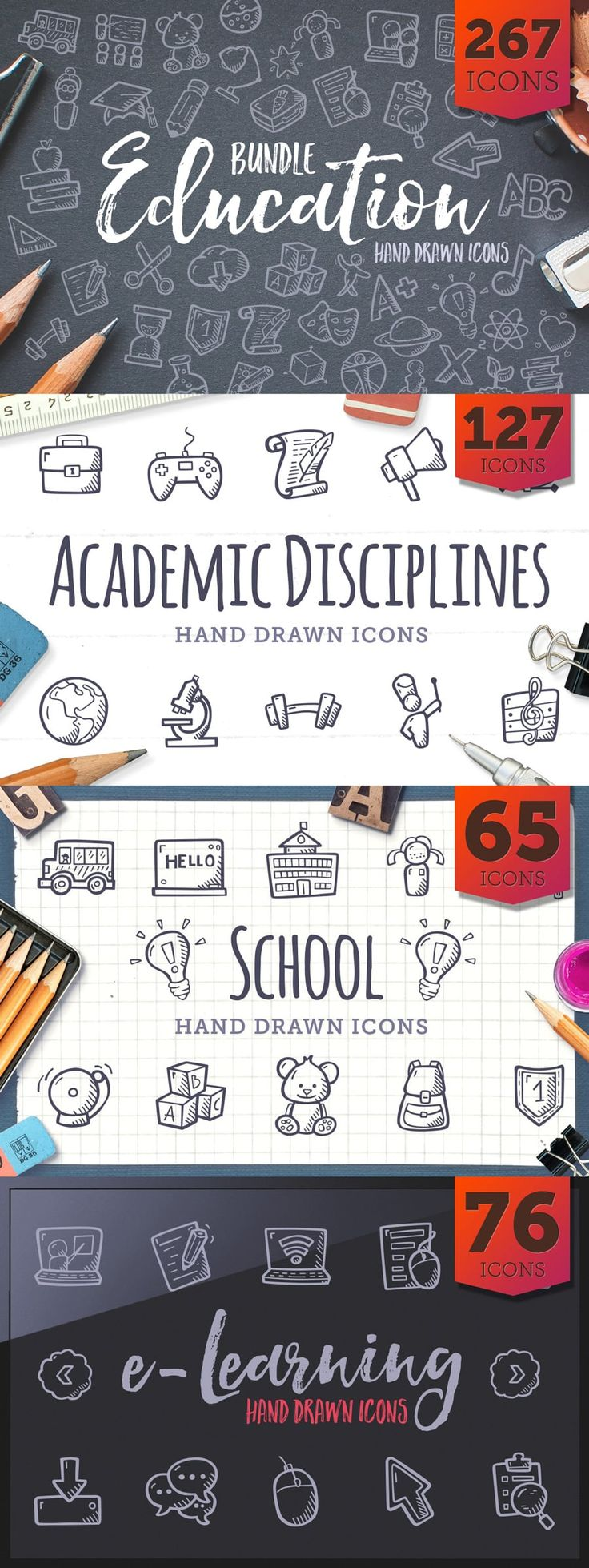 Education Icons made by @weboutloud #education #handdrawnicons #icons #doodle	#drawing #clipart #e-learning #tinyart #icon #icondesign #handdrawn #iconset #bundle #creativemarket
