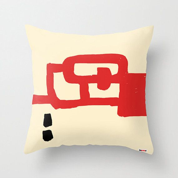 Red and white Decorative throw pillow cover  by thegretest on Etsy, $55.00