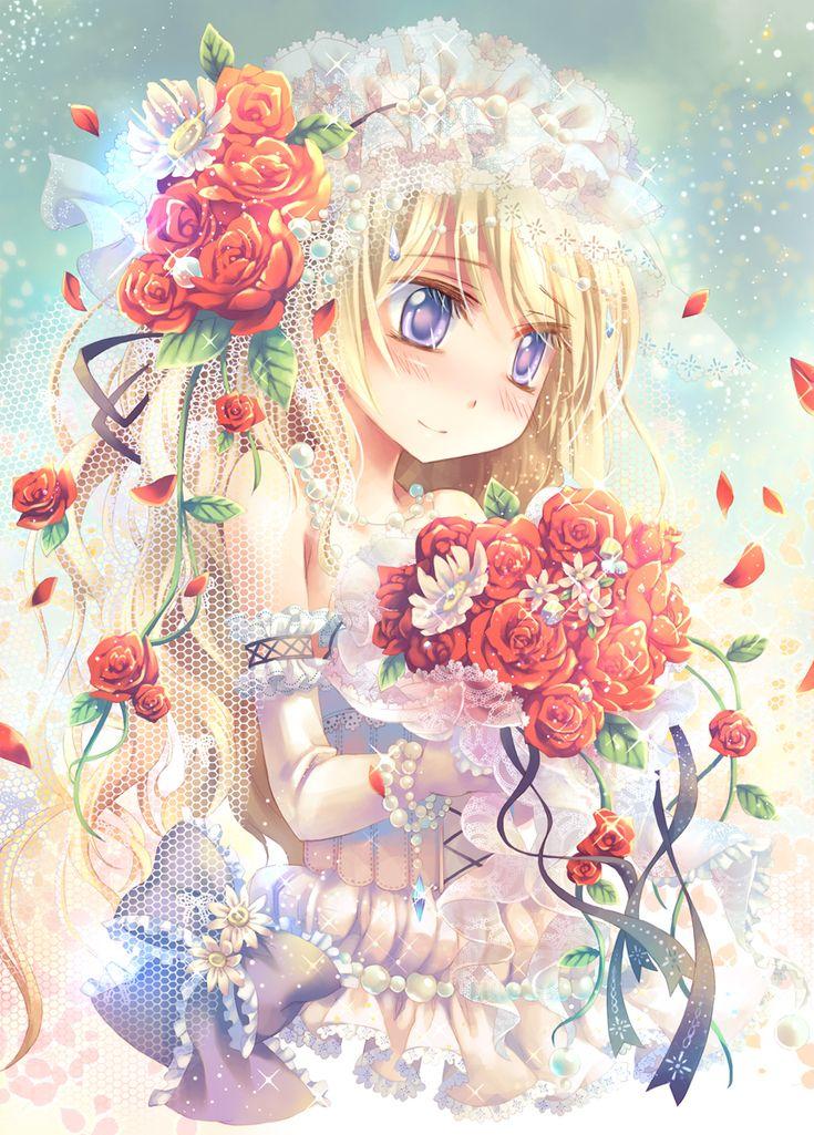 Blushing Bride Anime Girl wearing a Wedding dress Anime