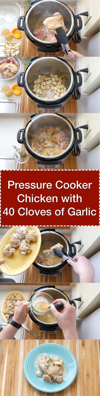 Pressure Cooker Chicken With 40 Cloves of Garlic   DadCooksDinner.com