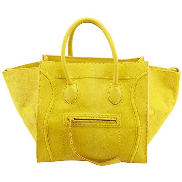 Pre-Owned Celine Phantom Citron Yellow Pony Hair \u0026amp; Leather Tote ...