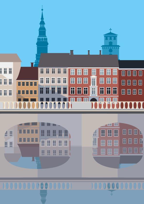 """Gammel Strand, København K. Illustration #Sivellink  """"An Icon a Day"""" blog."""