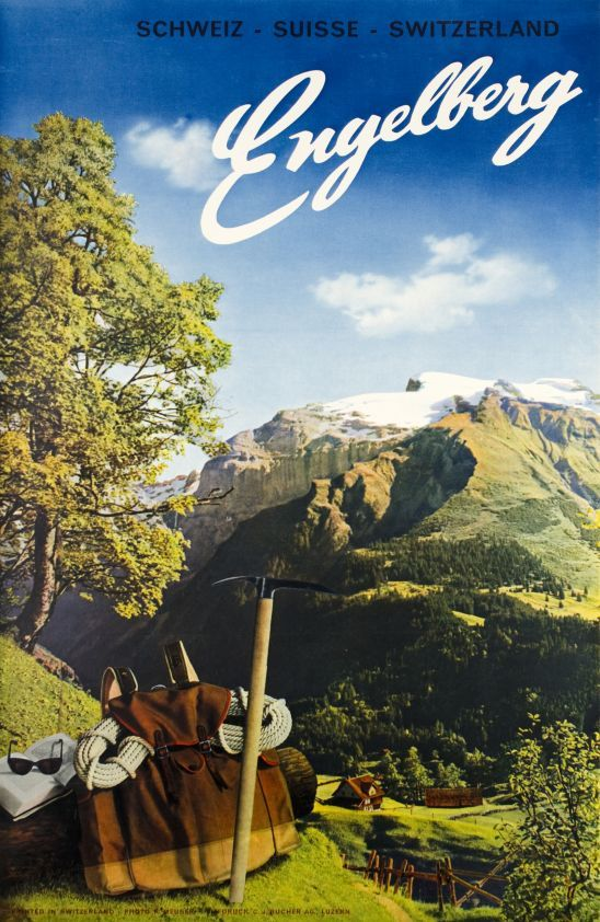Engelberg, Schweiz Suisse Switzerland (by Meuser Karl / 1948) Swiss photo-montage poster for Engelberg in the Swiss Alps
