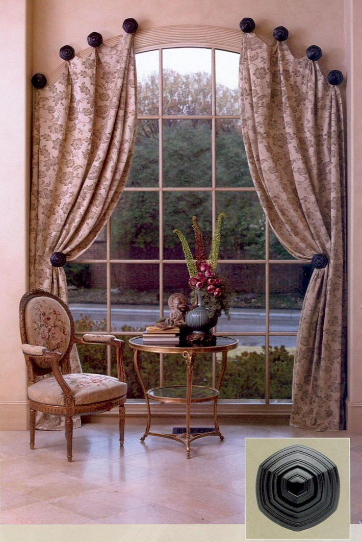 window treatment idea for arched windows