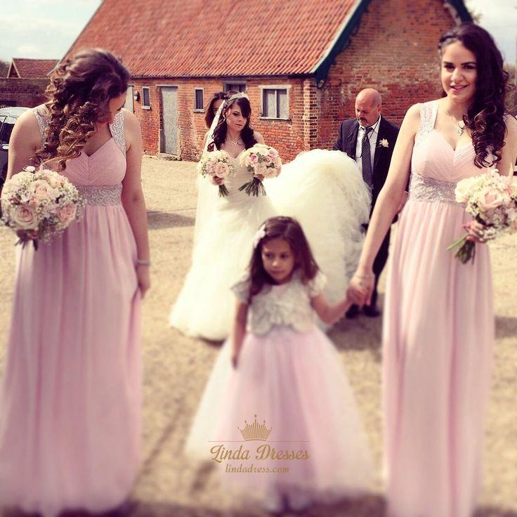 lindadress.com Offers High Quality Pink V Neck Empire Bridesmaid Dress Long With…