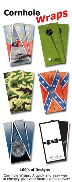 Full cornhole wraps quickly take your board set from drab to fab.  Lots of designs to choose from!  Visit www.JustGreatValues.com for more information.