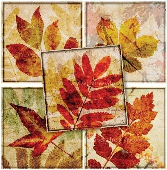 1 Inch Squares  Autumn Leaf Collages  Digital Collage by ImageArts, $3.99