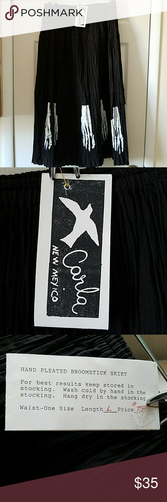 Ltd. Edition Carla of New Mexico Broomstick Skirt! Black cotton skirt with silk screened skeleton feet, so unique, new with tags! Be noticed in this fabulous skirt! It is one size fits all but my opinion is Large to X Large. Perfect with boots or sandals! Carla of New Mexico Skirts Maxi