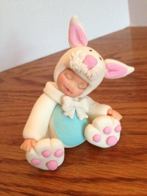 Edible Fondant Bunny CupcakeCake topper by Toppers4you on Etsy, $35.00