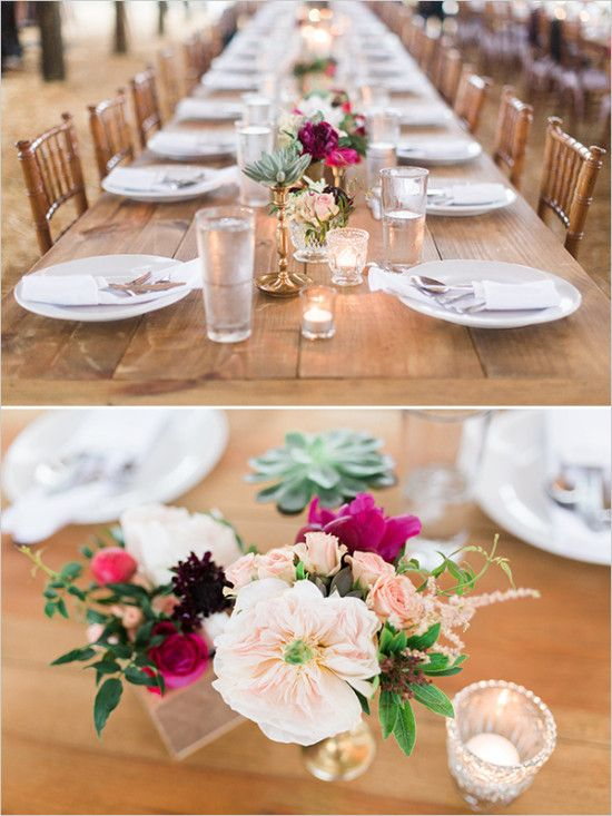 Long farm table with simple chic centerpiece ideas