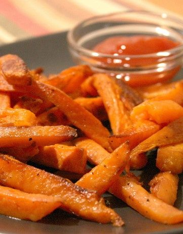 Weight Watchers - Crispy Sweet Potato Fries  Preheat oven to 450 degrees.  Cut potatoes into 1/2 inch wedges.  Toss with 1 tblsp oil, ¼ tsp salt, ¼ tsp pepper in med bowl.  Arrange in a single layer on a nonstick baking sheet.  Bake, turning once, until browned/crisp, about 35 mins- very yummy!