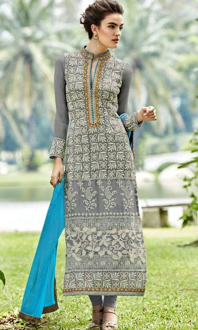 Grey Long Straight Suit-