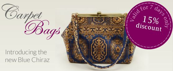 15% discount on our Blue Chiraz range! Order before midnight on the 15th March. Voucher code MARCHBLUE http://www.carpetbags.co.uk