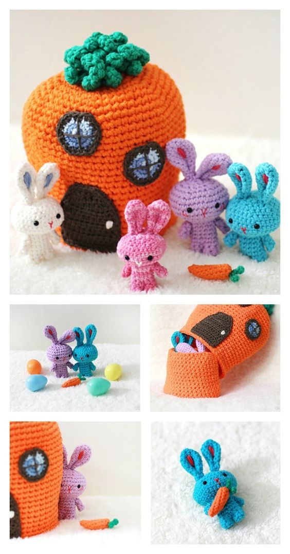 Free Adorable Mini Family of Traveling Rabbits Crochet Pattern