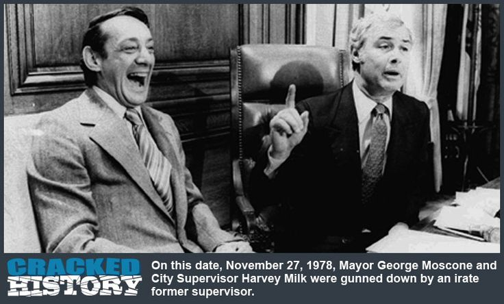 November 27, 1978: San Francisco Mayor Gunned Down, or a Tale of the Twinkie Defense - http://www.crackedhistory.com/november-27-1978-san-francisco-mayor-gunned-tale-twinkie-defense/ - #Crackedhistory #top10
