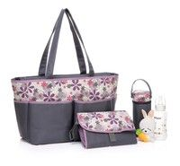 Wish | New Women's Mummy Baby Diaper Nappy Tote Satchal Bag Adeline Gray N-GR1155 (Color: Purple)