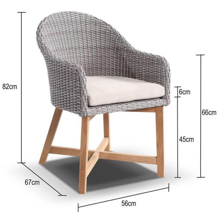 Coastal Outdoor Wicker & Teak Dining Chair in Grey | Buy Outdoor Dining Chairs