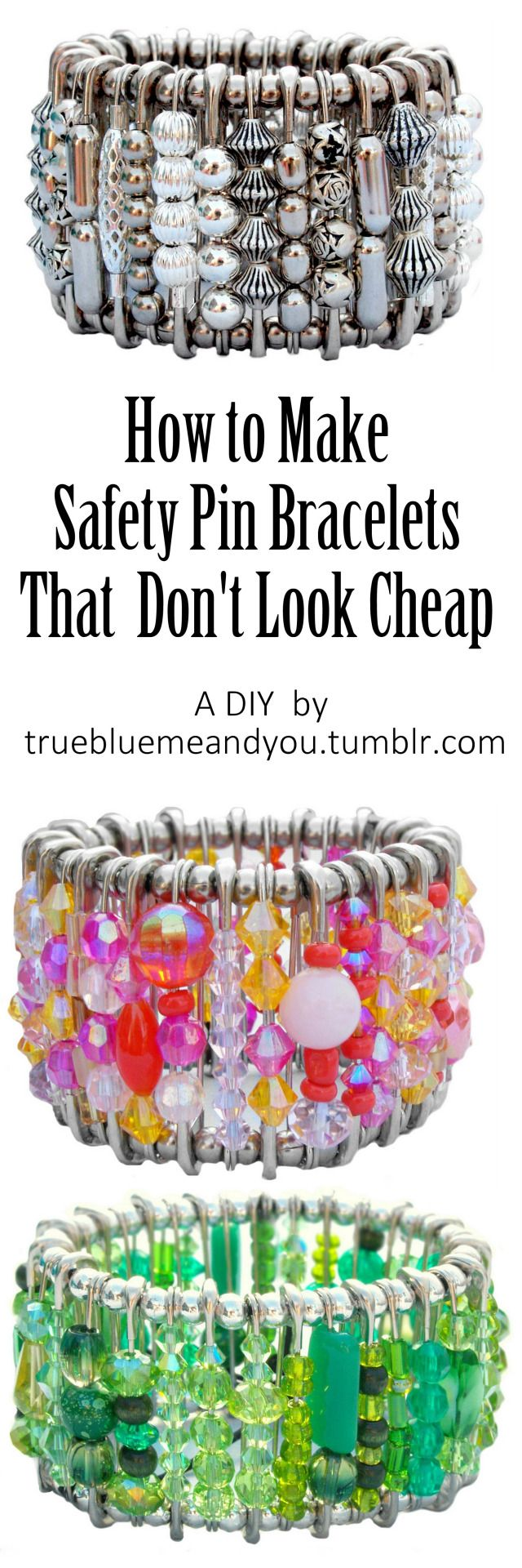 DIY Safety Pin Bracelets that Don't Look Cheap! Watch a short video on how to make a Safety Pin Bracelet from start to finish by Hannah for truebluemeandyou. My best friend Hannah (who made the Rubik's Cube video), also makes the best safety pin...