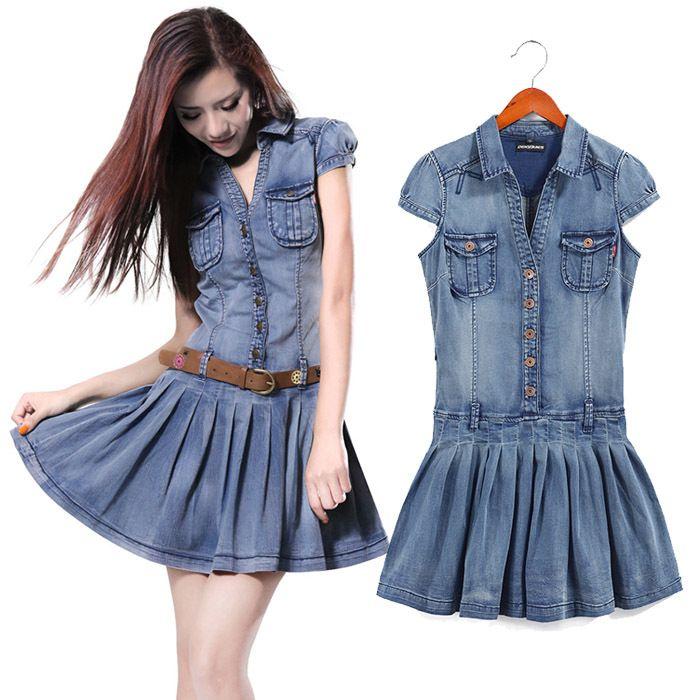 Luxury Women Casual Jeans Dress Female V Neck Split Denim Mini Dresses