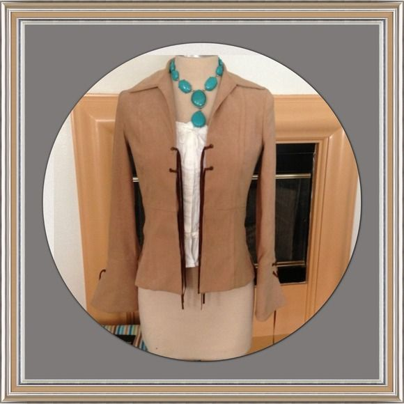 Like new-Beautiful faux suede blazer Beautiful faux suede blazer with detailed lacing on wrist and chest. Can be worn with skinny jeans or a skirt. Size is p/s,  petite small. Jackets & Coats Blazers