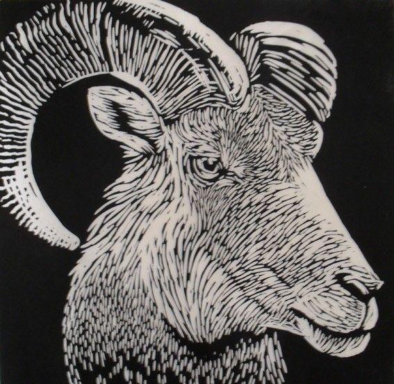 Ram linocut print rowanne anderson u k zoogdieren