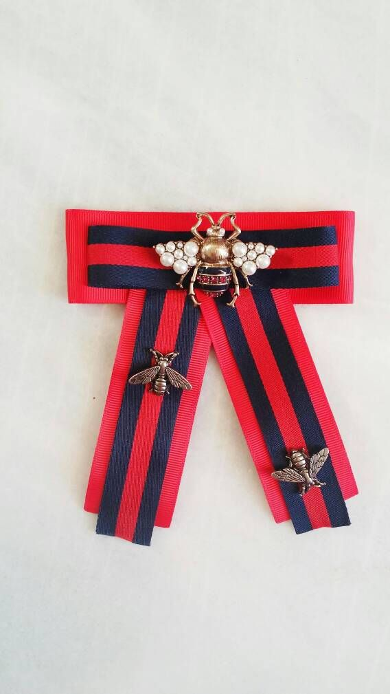 769ba0b31e74f8 Ultimate handmade red and navy blue brooch with a jumbo size bee with  pearls and insect pins Gucci inspiration by MyMargitte on Etsy