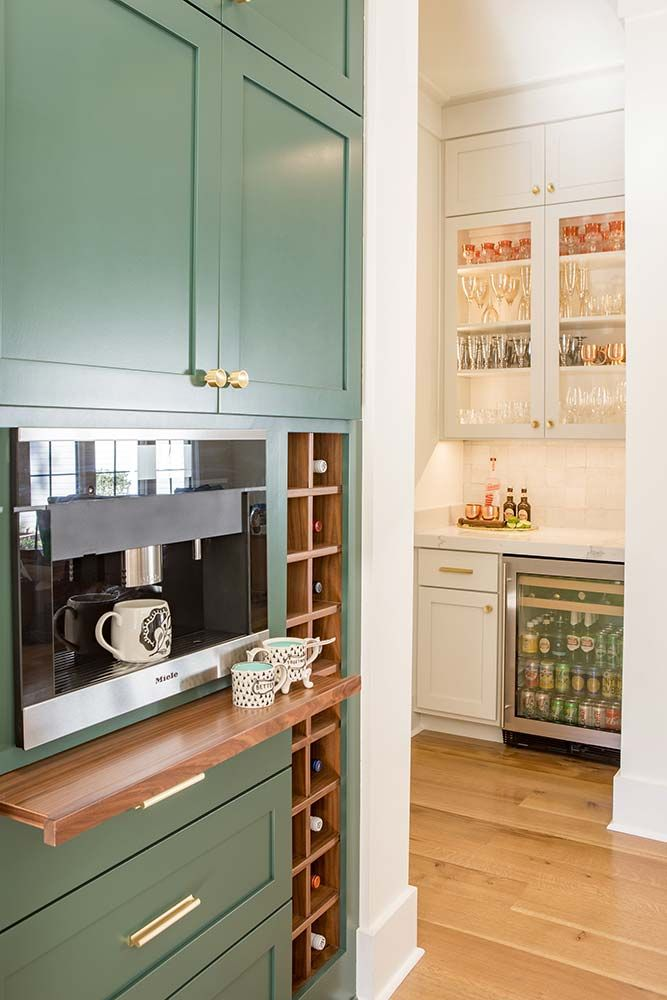 Green Kitchen Cabinetry Lindsey Black Interiors Memphis Tn Built In Coffee Maker Espresso Kitchen Cabinets Espresso Kitchen