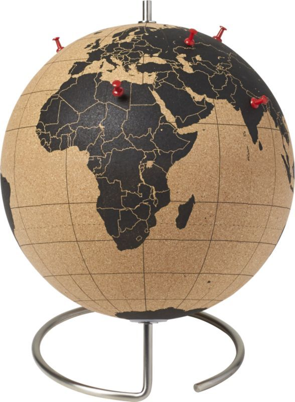 travel log.  Track your globetrotting—past and future—on this full-size cork globe.  Mounted on a simple stainless steel base, it comes with five tacks for pinning your whereabouts. CorkRotates on stainless steel baseFive tacks includedMade in China.