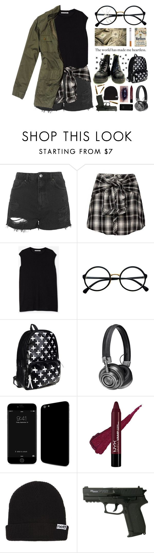 """Anti-social Behaviour (Quick)"" by alex-fox1 ❤ liked on Polyvore featuring Topshop, Acne Studios, Nili Lotan, Retrò, Master & Dynamic, Neff, black, edgy, badass and blackoutfit"