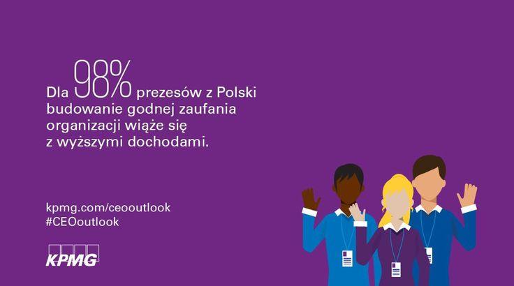 Dla 98% prezesów z Polski budowanie godnej zaufania organizacji wiąże się z wyższymi dochodami